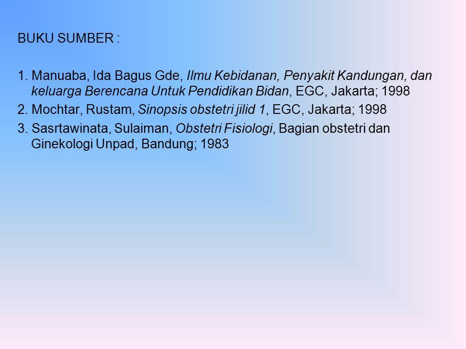 BUKU SUMBER : 1. Manuaba, Ida Bagus Gde, Ilmu Kebidanan, Penyakit Kandungan, dan keluarga Berencana Untuk Pendidikan Bidan, EGC, Jakarta; 1998 2. Moch
