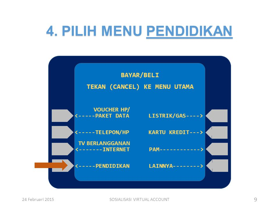 4. PILIH MENU PENDIDIKAN 9 BAYAR/BELI TEKAN (CANCEL) KE MENU UTAMA <-----PAKET DATA TV BERLANGGANAN <-----TELEPON/HP <-------INTERNET <-----PENDIDIKAN