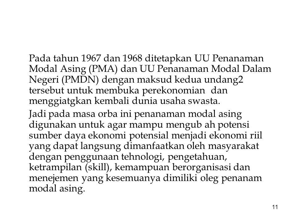 11 Pada tahun 1967 dan 1968 ditetapkan UU Penanaman Modal Asing (PMA) dan UU Penanaman Modal Dalam Negeri (PMDN) dengan maksud kedua undang2 tersebut untuk membuka perekonomian dan menggiatgkan kembali dunia usaha swasta.