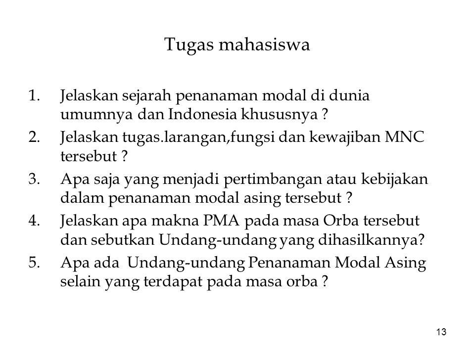 13 Tugas mahasiswa 1.Jelaskan sejarah penanaman modal di dunia umumnya dan Indonesia khususnya ? 2.Jelaskan tugas.larangan,fungsi dan kewajiban MNC te