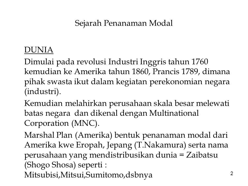 2 Sejarah Penanaman Modal DUNIA Dimulai pada revolusi Industri Inggris tahun 1760 kemudian ke Amerika tahun 1860, Prancis 1789, dimana pihak swasta ikut dalam kegiatan perekonomian negara (industri).