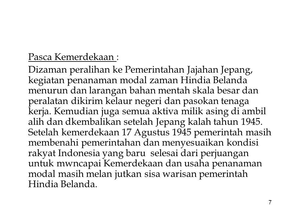 8 Usaha pemerintah Indonesia tahun 1950 s/d 1957 menasionalisasi perusahaan penanaman modal asing dan sampai keluarnya dekrit Presiden keadaaan Indonesia tidak stabil, peberontakan di daerah dan industri menjadi stagnasi dan terjadi inflasi.