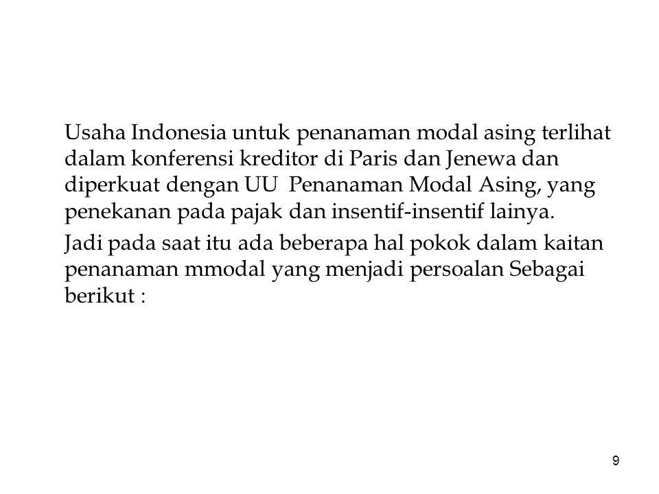 9 Usaha Indonesia untuk penanaman modal asing terlihat dalam konferensi kreditor di Paris dan Jenewa dan diperkuat dengan UU Penanaman Modal Asing, yang penekanan pada pajak dan insentif-insentif lainya.