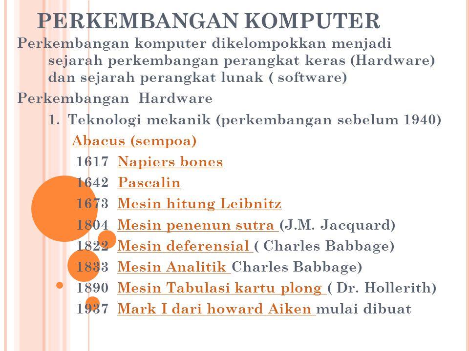 PERKEMBANGAN KOMPUTER Perkembangan komputer dikelompokkan menjadi sejarah perkembangan perangkat keras (Hardware) dan sejarah perangkat lunak ( softwa