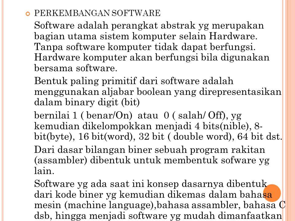 PERKEMBANGAN SOFTWARE Software adalah perangkat abstrak yg merupakan bagian utama sistem komputer selain Hardware. Tanpa software komputer tidak dapat