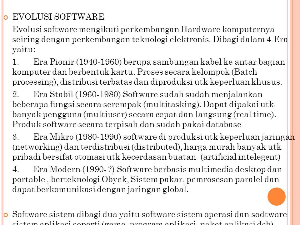 EVOLUSI SOFTWARE Evolusi software mengikuti perkembangan Hardware komputernya seiring dengan perkembangan teknologi elektronis. Dibagi dalam 4 Era yai