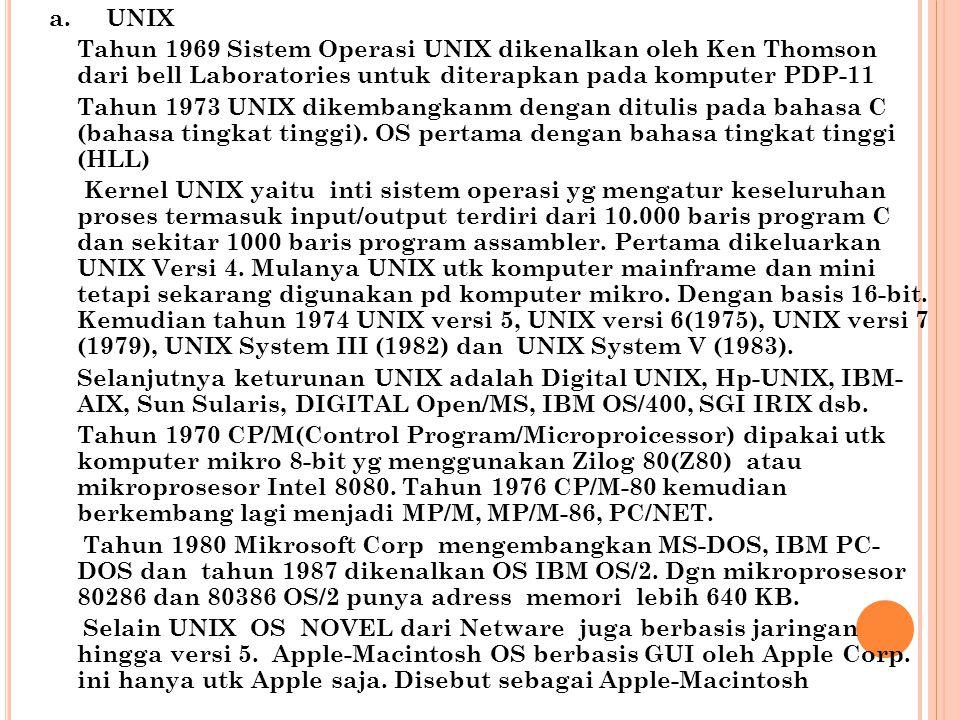 a.UNIX Tahun 1969 Sistem Operasi UNIX dikenalkan oleh Ken Thomson dari bell Laboratories untuk diterapkan pada komputer PDP-11 Tahun 1973 UNIX dikemba