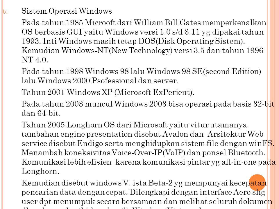 b. Sistem Operasi Windows Pada tahun 1985 Microoft dari William Bill Gates memperkenalkan OS berbasis GUI yaitu Windows versi 1.0 s/d 3.11 yg dipakai