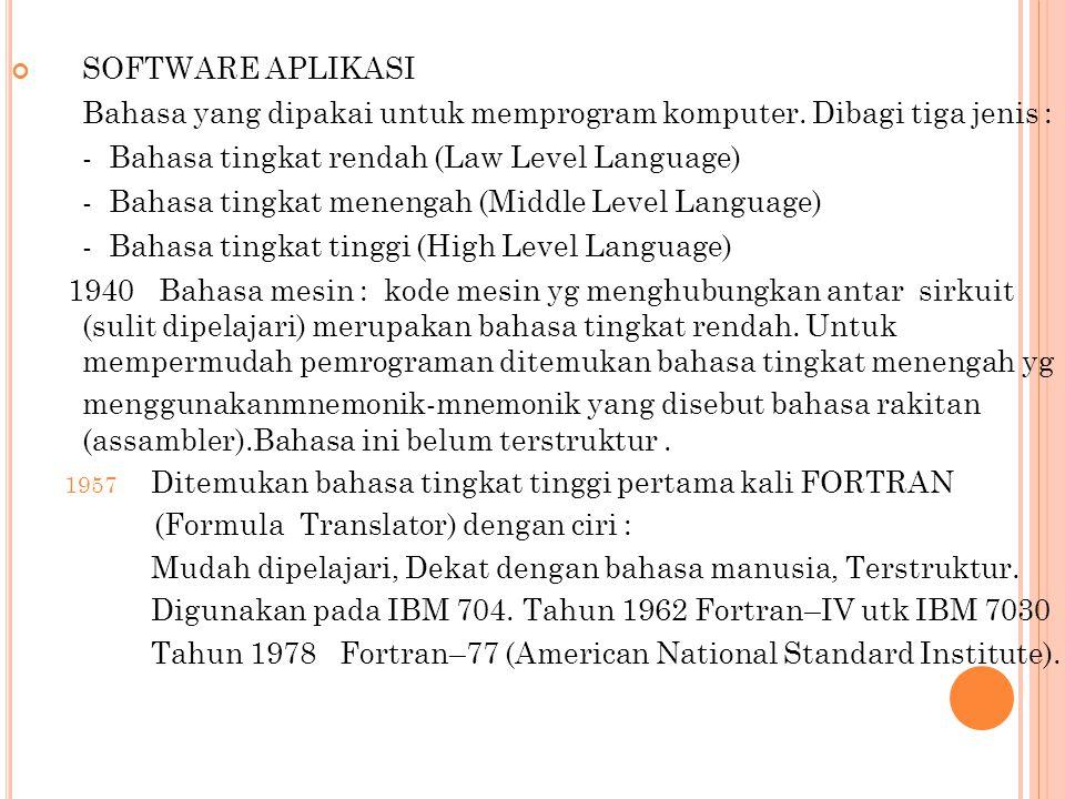 SOFTWARE APLIKASI Bahasa yang dipakai untuk memprogram komputer. Dibagi tiga jenis : - Bahasa tingkat rendah (Law Level Language) - Bahasa tingkat men