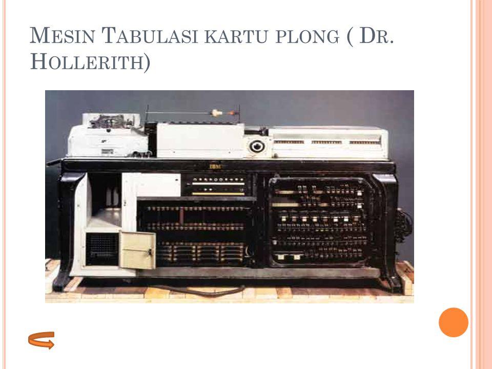 M ESIN T ABULASI KARTU PLONG ( D R. H OLLERITH )
