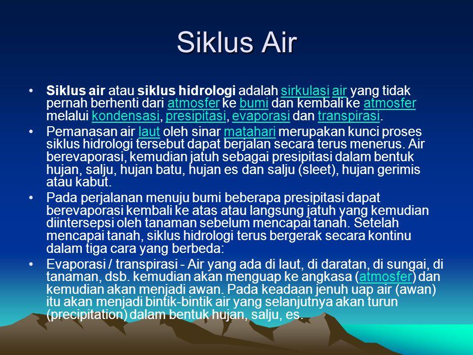 Siklus Air Siklus air atau siklus hidrologi adalah sirkulasi air yang tidak pernah berhenti dari atmosfer ke bumi dan kembali ke atmosfer melalui kond