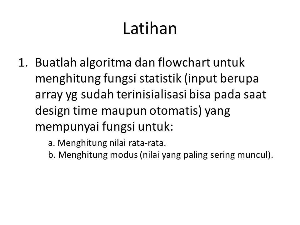 Latihan 1.Buatlah algoritma dan flowchart untuk menghitung fungsi statistik (input berupa array yg sudah terinisialisasi bisa pada saat design time maupun otomatis) yang mempunyai fungsi untuk: a.