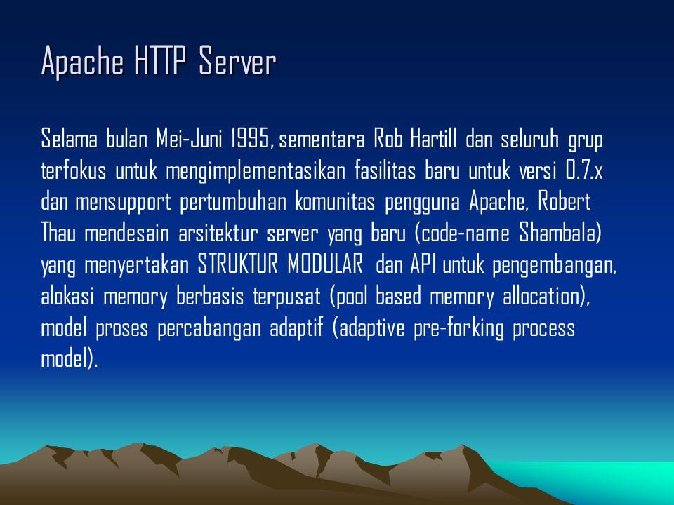 Apache HTTP Server Selama bulan Mei-Juni 1995, sementara Rob Hartill dan seluruh grup terfokus untuk mengimplementasikan fasilitas baru untuk versi 0.