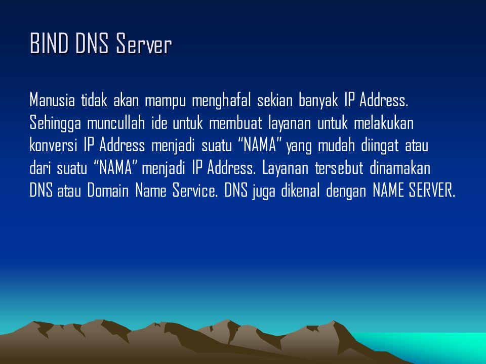 BIND DNS Server Manusia tidak akan mampu menghafal sekian banyak IP Address. Sehingga muncullah ide untuk membuat layanan untuk melakukan konversi IP