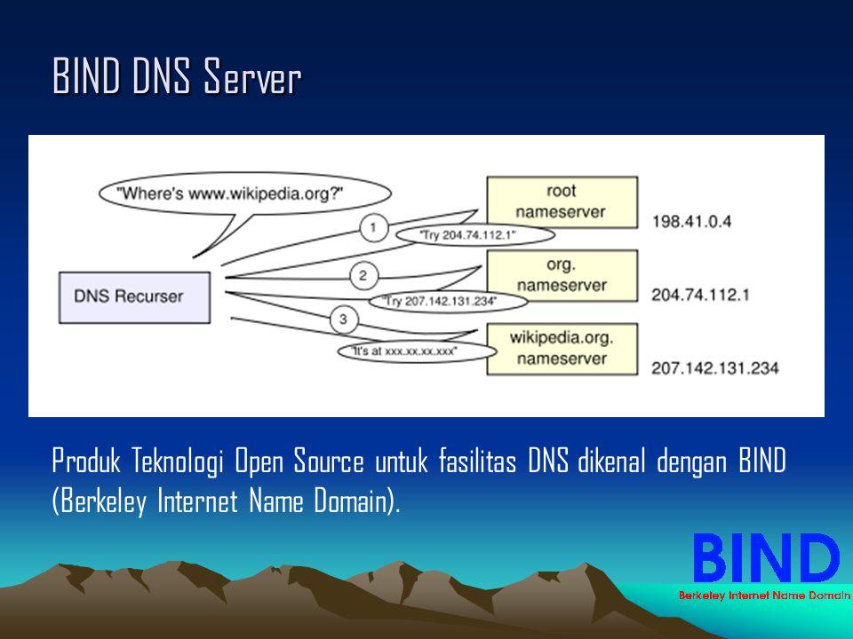 BIND DNS Server Produk Teknologi Open Source untuk fasilitas DNS dikenal dengan BIND (Berkeley Internet Name Domain).
