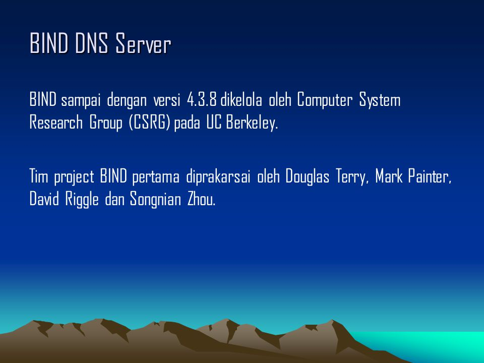 BIND DNS Server BIND sampai dengan versi 4.3.8 dikelola oleh Computer System Research Group (CSRG) pada UC Berkeley. Tim project BIND pertama diprakar