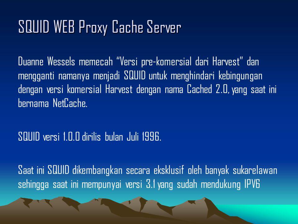 """SQUID WEB Proxy Cache Server Duanne Wessels memecah """"Versi pre-komersial dari Harvest"""" dan mengganti namanya menjadi SQUID untuk menghindari kebingung"""