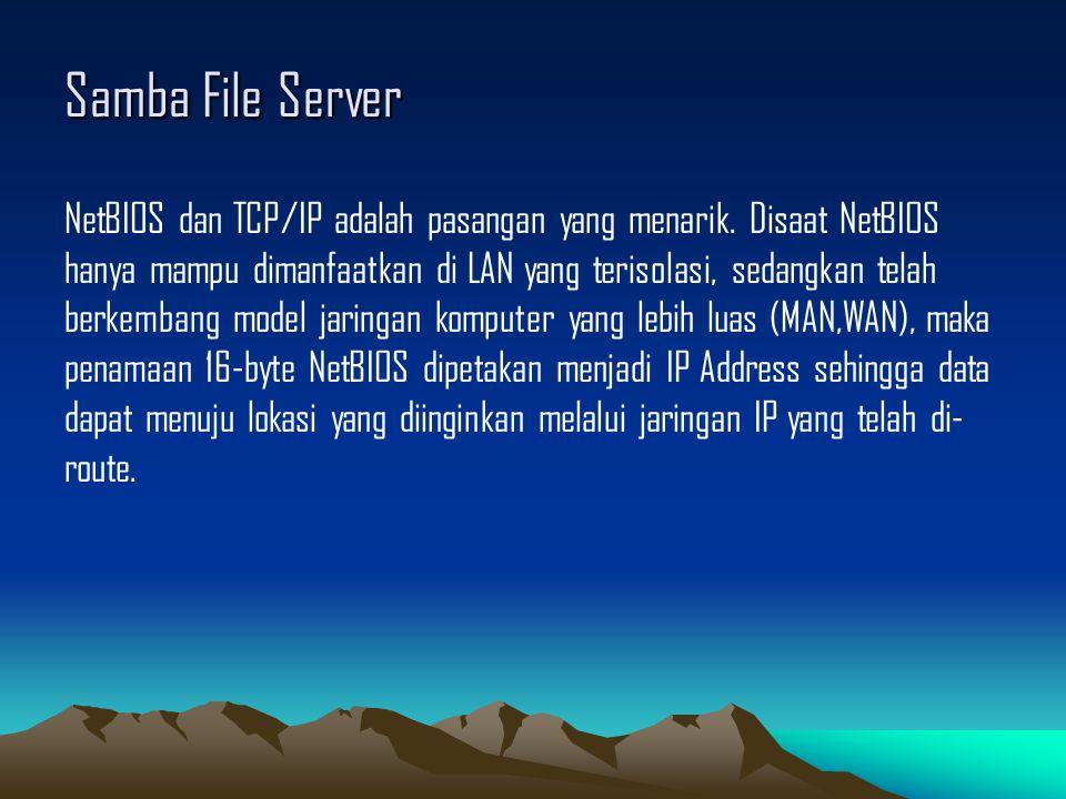 Samba File Server NetBIOS dan TCP/IP adalah pasangan yang menarik. Disaat NetBIOS hanya mampu dimanfaatkan di LAN yang terisolasi, sedangkan telah ber
