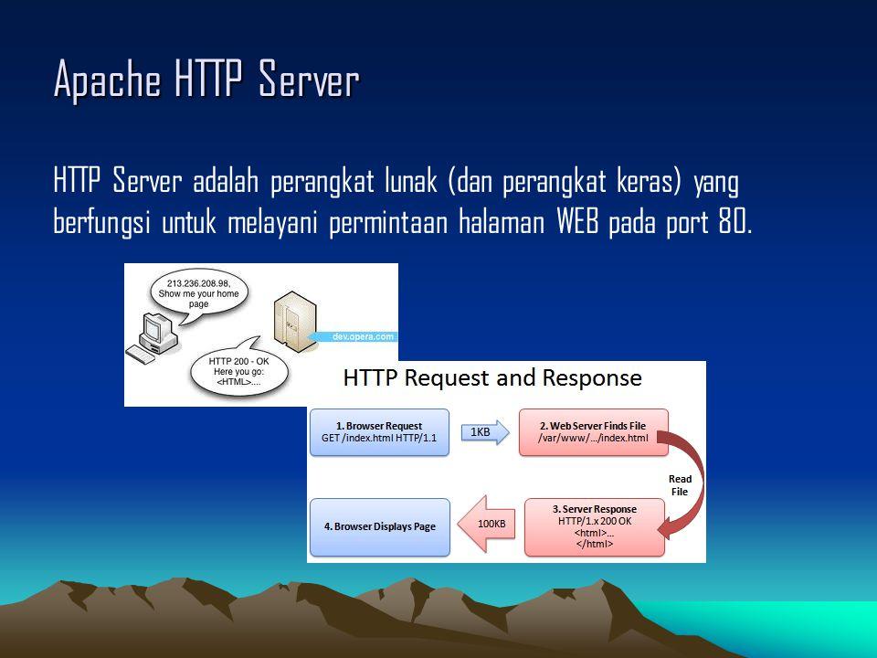 Apache HTTP Server HTTP Server adalah perangkat lunak (dan perangkat keras) yang berfungsi untuk melayani permintaan halaman WEB pada port 80.