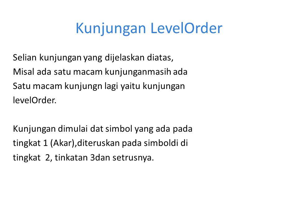 Kunjungan LevelOrder Selian kunjungan yang dijelaskan diatas, Misal ada satu macam kunjunganmasih ada Satu macam kunjungn lagi yaitu kunjungan levelOr