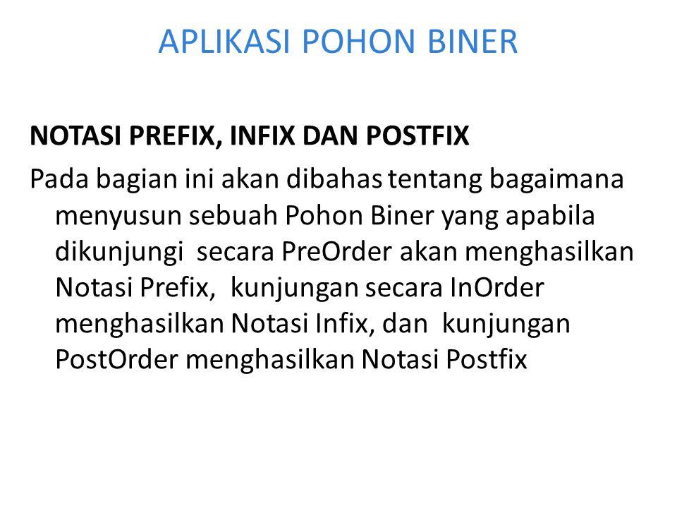 APLIKASI POHON BINER NOTASI PREFIX, INFIX DAN POSTFIX Pada bagian ini akan dibahas tentang bagaimana menyusun sebuah Pohon Biner yang apabila dikunjun