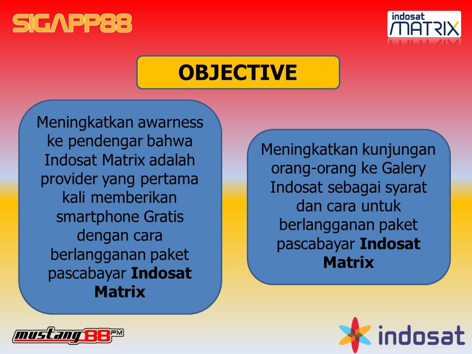 OBJECTIVE Meningkatkan awarness ke pendengar bahwa Indosat Matrix adalah provider yang pertama kali memberikan smartphone Gratis dengan cara berlangganan paket pascabayar Indosat Matrix Meningkatkan kunjungan orang-orang ke Galery Indosat sebagai syarat dan cara untuk berlangganan paket pascabayar Indosat Matrix