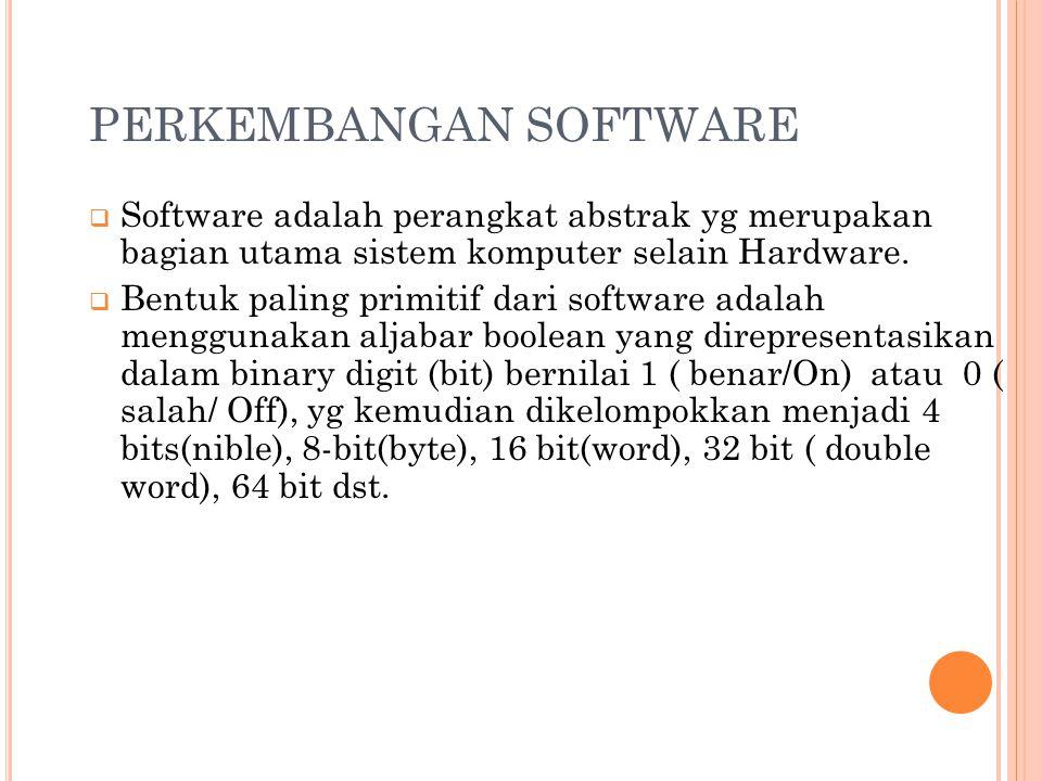 PERKEMBANGAN SOFTWARE  Software adalah perangkat abstrak yg merupakan bagian utama sistem komputer selain Hardware.
