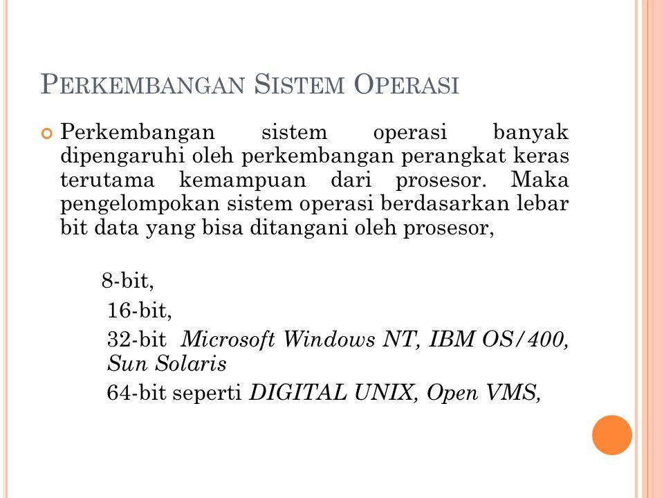 P ERKEMBANGAN S ISTEM O PERASI Perkembangan sistem operasi banyak dipengaruhi oleh perkembangan perangkat keras terutama kemampuan dari prosesor.