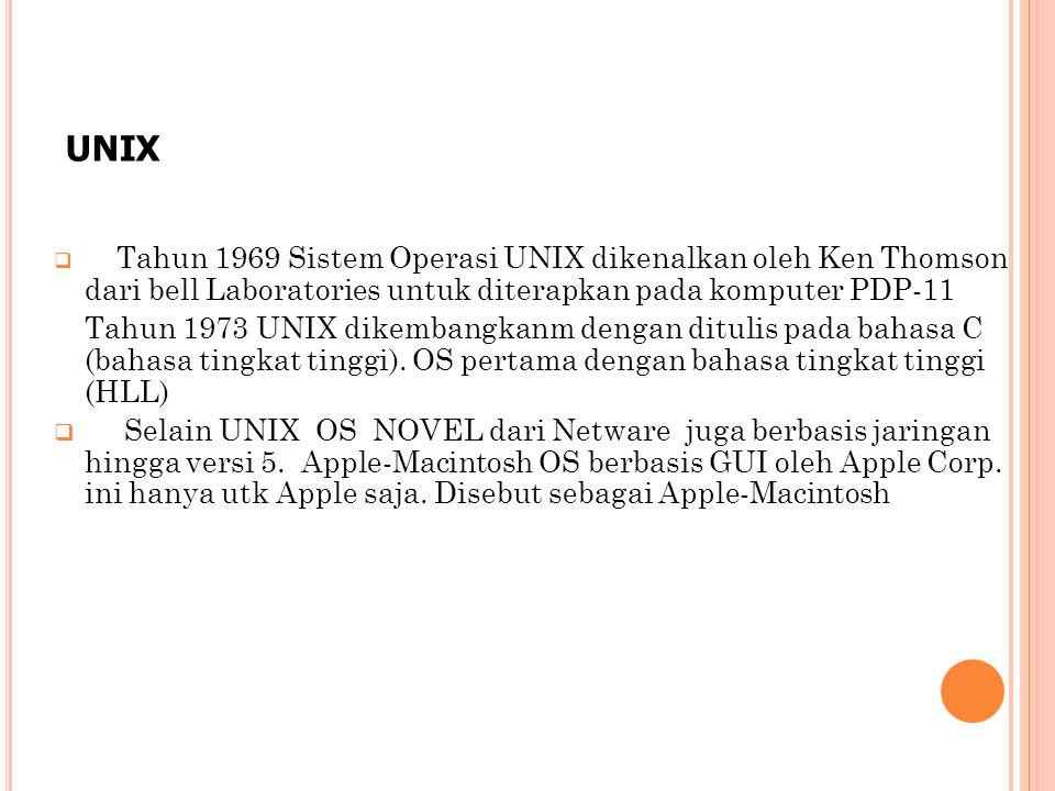  Tahun 1969 Sistem Operasi UNIX dikenalkan oleh Ken Thomson dari bell Laboratories untuk diterapkan pada komputer PDP-11 Tahun 1973 UNIX dikembangkanm dengan ditulis pada bahasa C (bahasa tingkat tinggi).