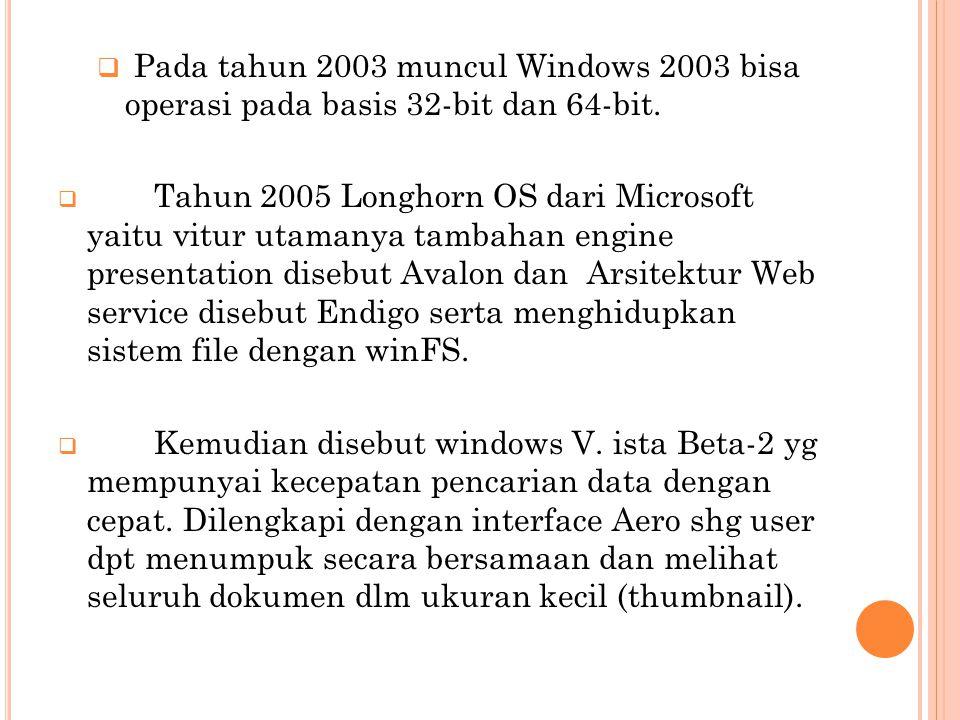  Pada tahun 2003 muncul Windows 2003 bisa operasi pada basis 32-bit dan 64-bit.