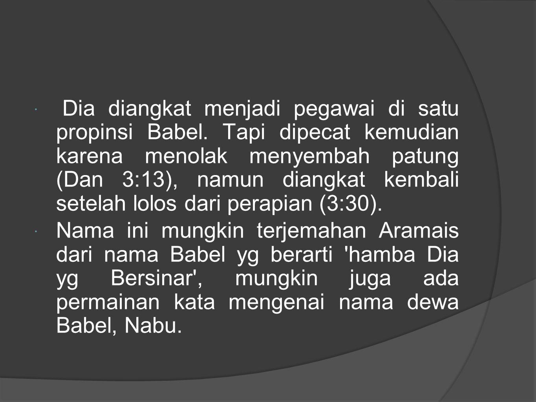  Dia diangkat menjadi pegawai di satu propinsi Babel.