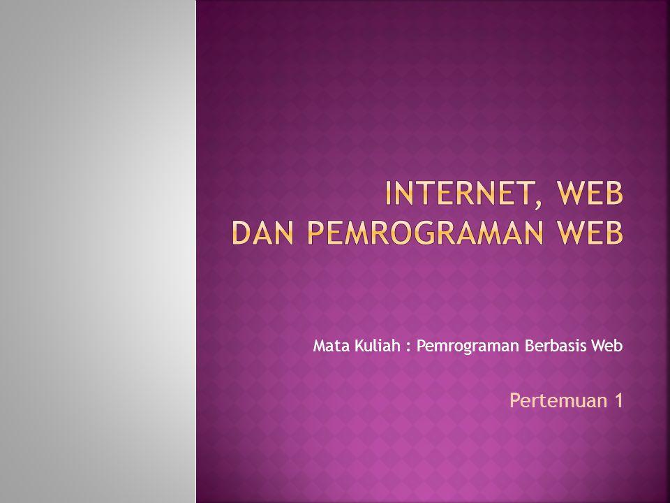 Mata Kuliah : Pemrograman Berbasis Web Pertemuan 1