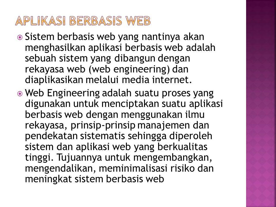  Sistem berbasis web yang nantinya akan menghasilkan aplikasi berbasis web adalah sebuah sistem yang dibangun dengan rekayasa web (web engineering) dan diaplikasikan melalui media internet.