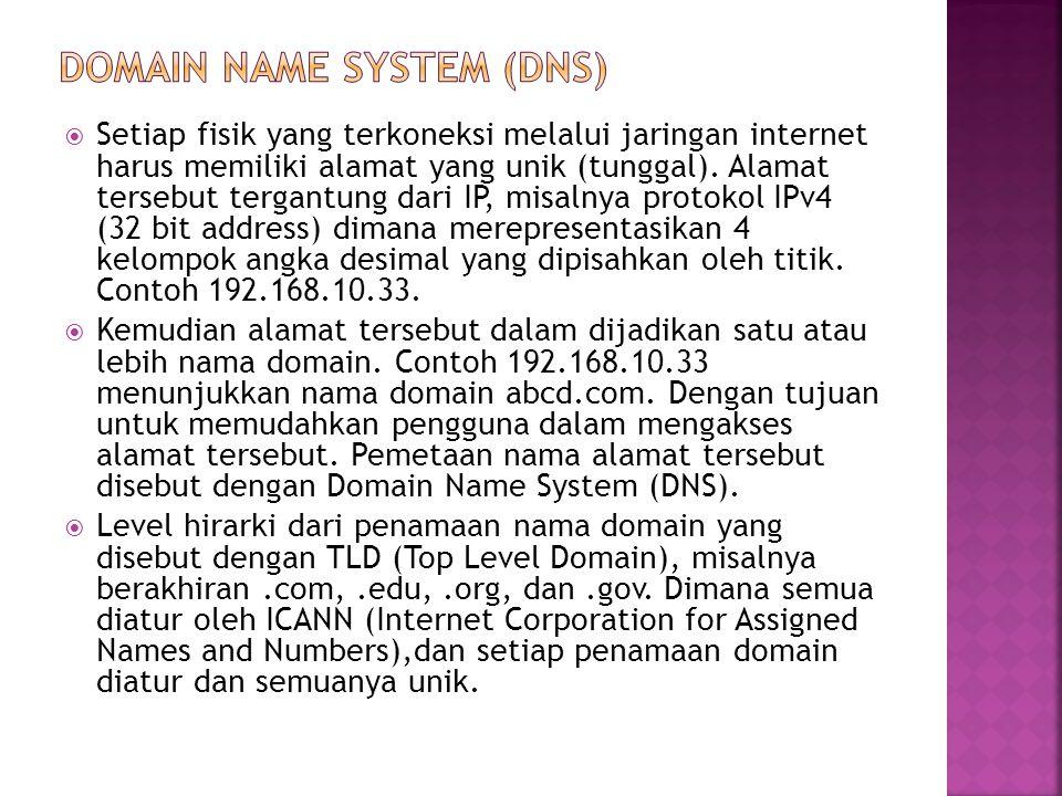 Setiap fisik yang terkoneksi melalui jaringan internet harus memiliki alamat yang unik (tunggal).