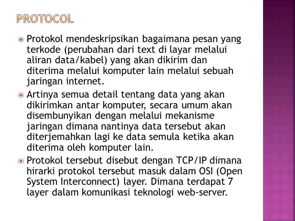  Protokol yang yang digunakan untuk mentransfer data ke dalam sistem Web.