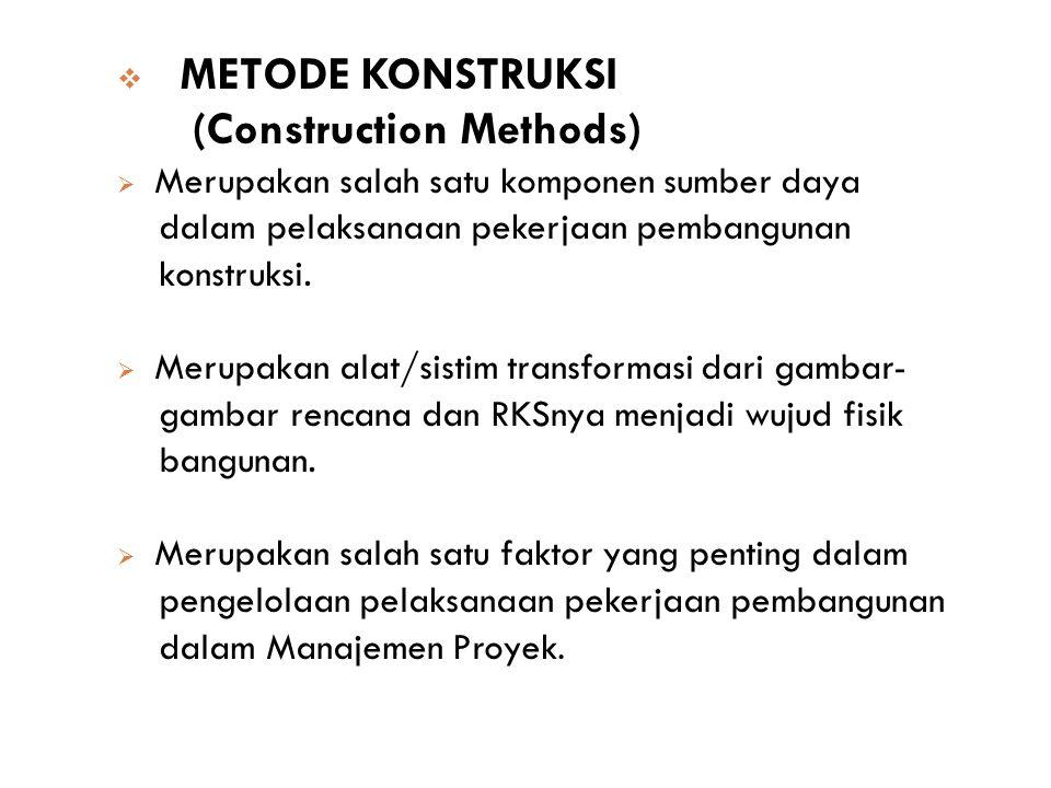  METODE KONSTRUKSI (Construction Methods)  Merupakan salah satu komponen sumber daya dalam pelaksanaan pekerjaan pembangunan konstruksi.  Merupakan