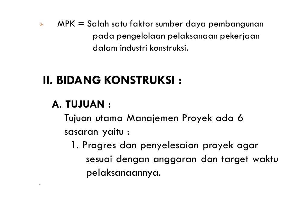  MPK = Salah satu faktor sumber daya pembangunan pada pengelolaan pelaksanaan pekerjaan dalam industri konstruksi. II. BIDANG KONSTRUKSI : A. TUJUAN