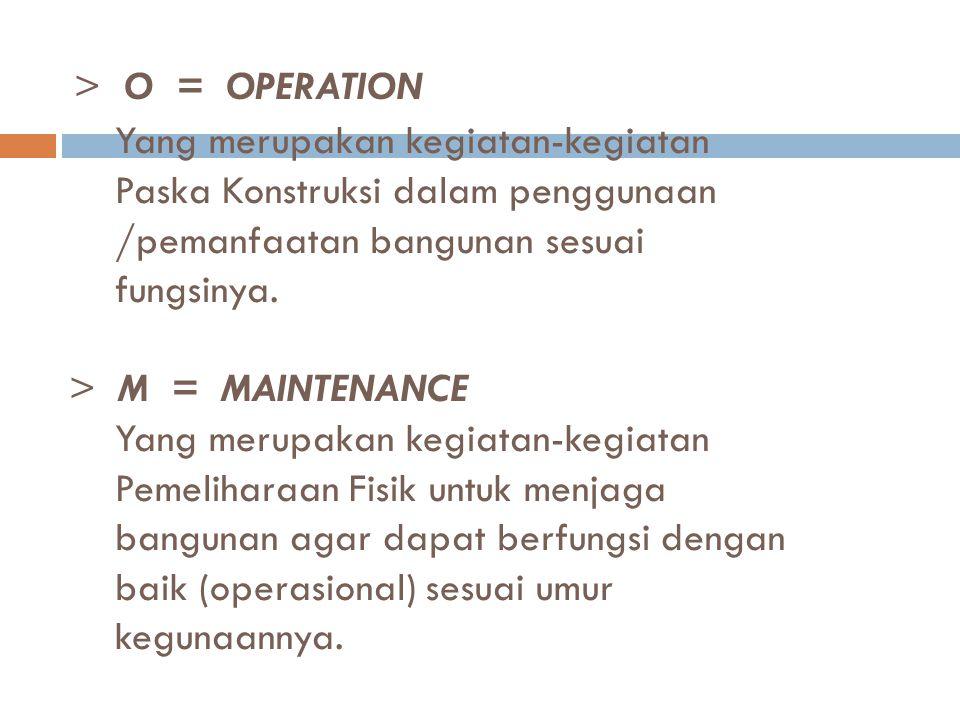 > O = OPERATION Yang merupakan kegiatan-kegiatan Paska Konstruksi dalam penggunaan /pemanfaatan bangunan sesuai fungsinya. > M = MAINTENANCE Yang meru