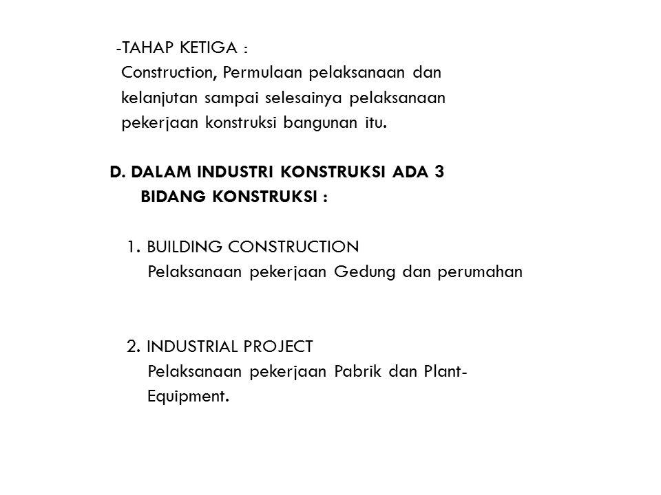 -TAHAP KETIGA : Construction, Permulaan pelaksanaan dan kelanjutan sampai selesainya pelaksanaan pekerjaan konstruksi bangunan itu. D. DALAM INDUSTRI