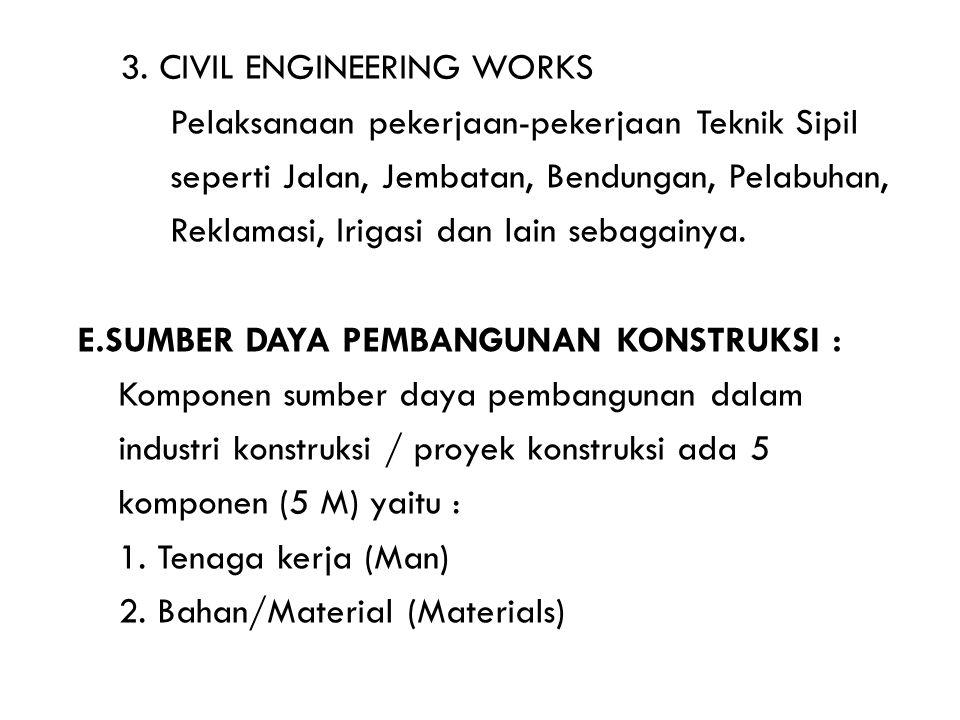 3. CIVIL ENGINEERING WORKS Pelaksanaan pekerjaan-pekerjaan Teknik Sipil seperti Jalan, Jembatan, Bendungan, Pelabuhan, Reklamasi, Irigasi dan lain seb
