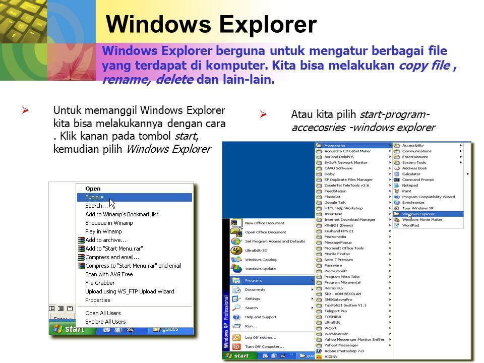 Windows Explorer Windows Explorer berguna untuk mengatur berbagai file yang terdapat di komputer.