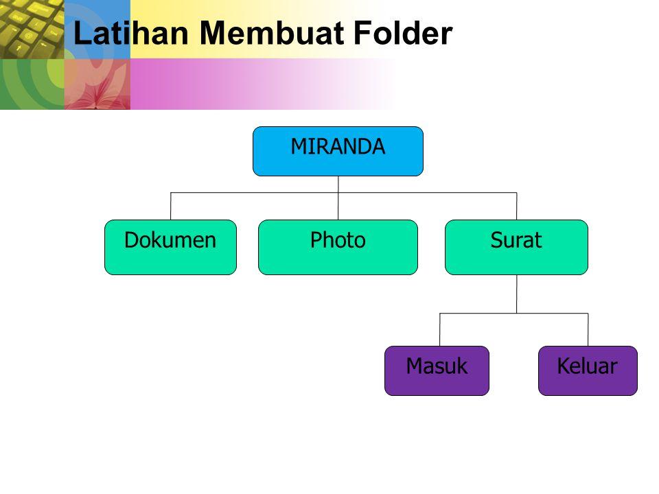Latihan Membuat Folder MIRANDA DokumenPhotoSurat MasukKeluar