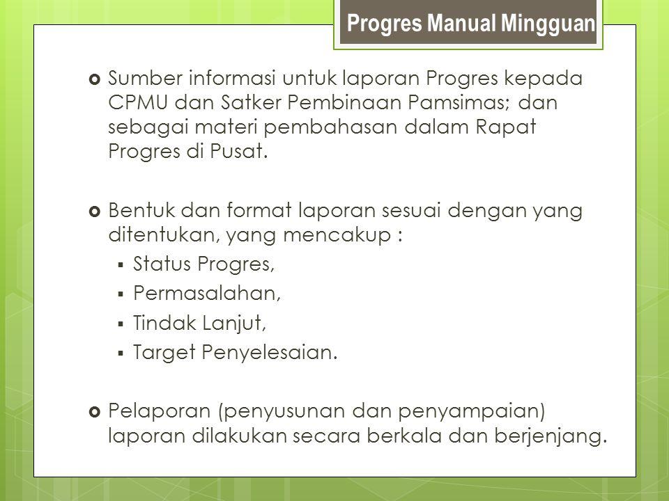Progres Manual Mingguan  Sumber informasi untuk laporan Progres kepada CPMU dan Satker Pembinaan Pamsimas; dan sebagai materi pembahasan dalam Rapat