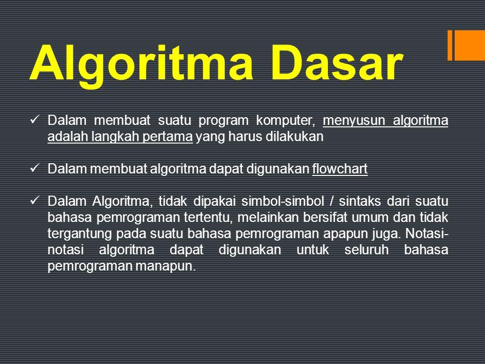 Struktur Dasar Algoritma  Struktur Dasar Algoritma dibagi menjadi 3 yaitu: 1.