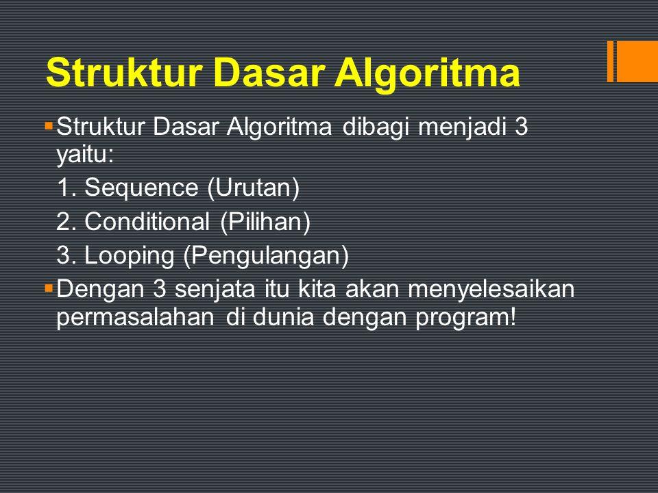 Definisi Pseudo-code Kode atau tanda yang menyerupai (pseudo) atau merupakan pejelasan cara menyelesaikan suatu masalah.