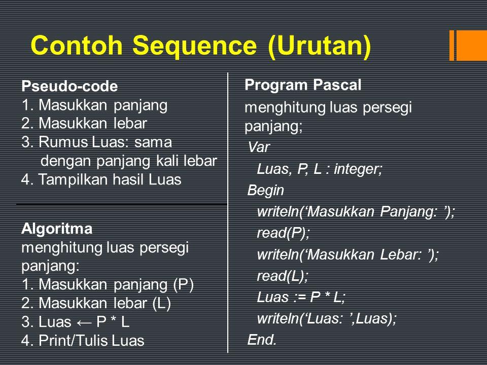 Solusi 2 Program persegipanjang; Var Luas, P, L : integer; Begin writeln('Masukkan Panjang : '); read(P); writeln('Masukkan Lebar : '); read(L); if (P > L) then begin Luas := P * L; writeln('Luas : ',Luas); end; End.