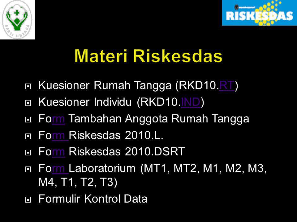  Kuesioner Rumah Tangga (RKD10.RT)RT  Kuesioner Individu (RKD10.IND)IND  Form Tambahan Anggota Rumah Tanggarm  Form Riskesdas 2010.L.rm  Form Ris