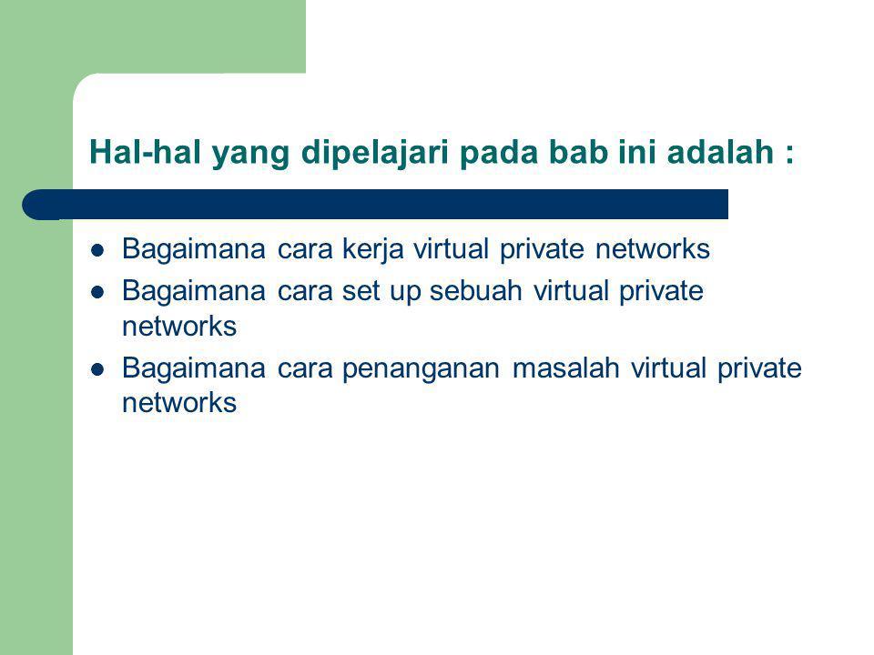 Hal-hal yang dipelajari pada bab ini adalah : Bagaimana cara kerja virtual private networks Bagaimana cara set up sebuah virtual private networks Bagaimana cara penanganan masalah virtual private networks