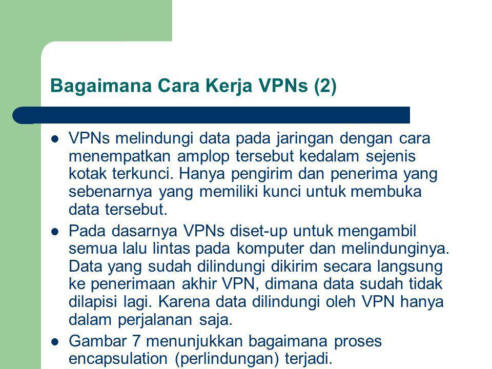 Bagaimana Cara Kerja VPNs (2) VPNs melindungi data pada jaringan dengan cara menempatkan amplop tersebut kedalam sejenis kotak terkunci.
