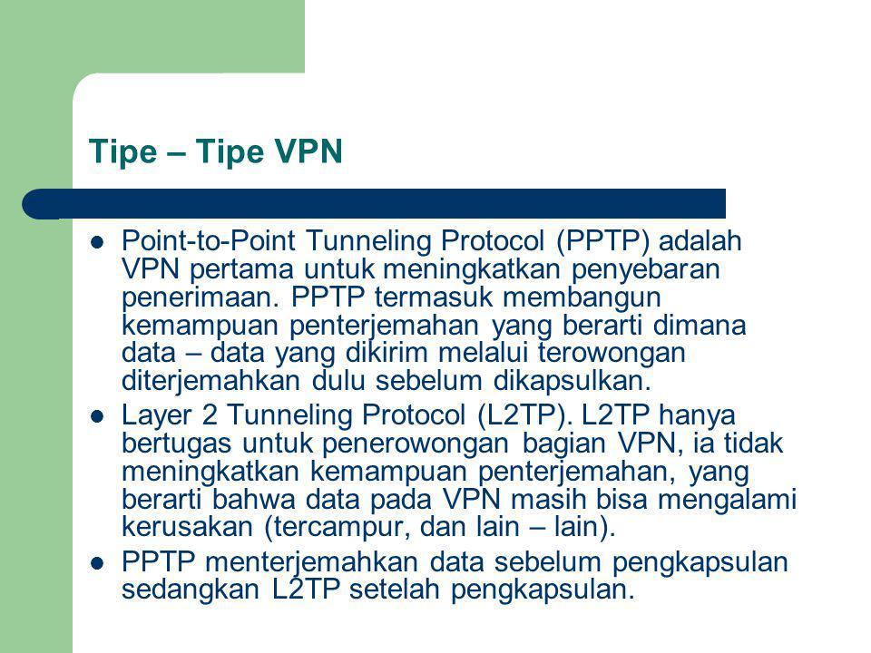 Tipe – Tipe VPN Point-to-Point Tunneling Protocol (PPTP) adalah VPN pertama untuk meningkatkan penyebaran penerimaan.